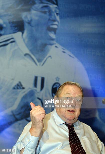 President Lennart Johansson, gestures in the conference hall of the Budapest Congress and World Trade Center 23 March 2006 as the UEFA and its...