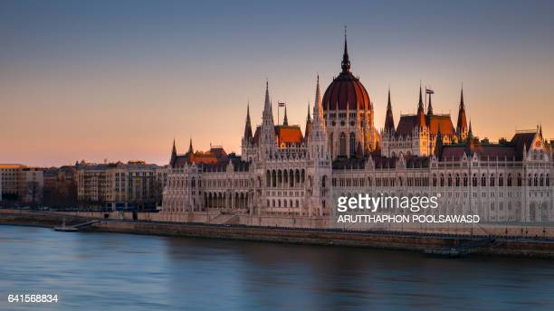 Budapest parliament at Sunrise time , Budapest , Hungary