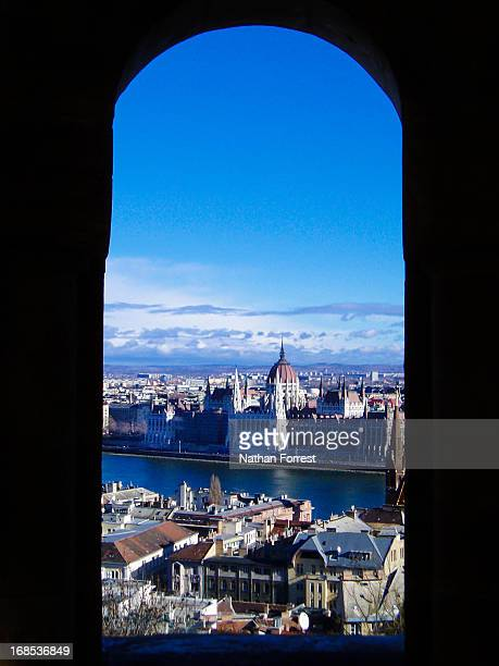 Budapest skyline seen though arched window