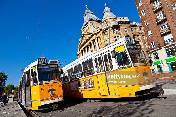 budapest, streetcar in budapest - budapest stock pictures, royalty-free photos & images