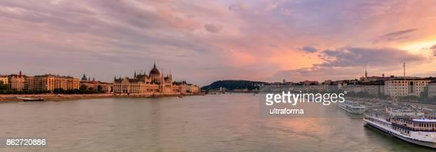 Budapest sunset panoramic with Hungarian Parliament, Chain Bridge, Gellert Hill, Royal Palace and Matthias Church