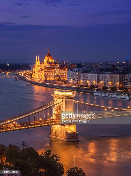 Budapest, the Chain Bridge and the Parliament