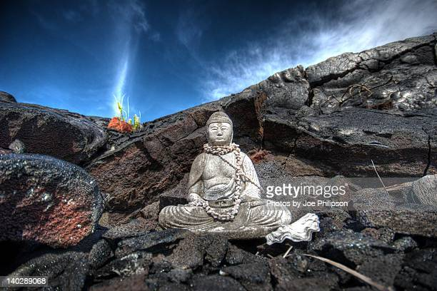 buddah statue on rock - kalapana stock pictures, royalty-free photos & images