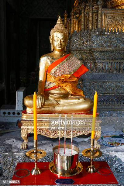 Buddha figure inside Wat Pho temple on March 16 2017 in Bangkok Thailand