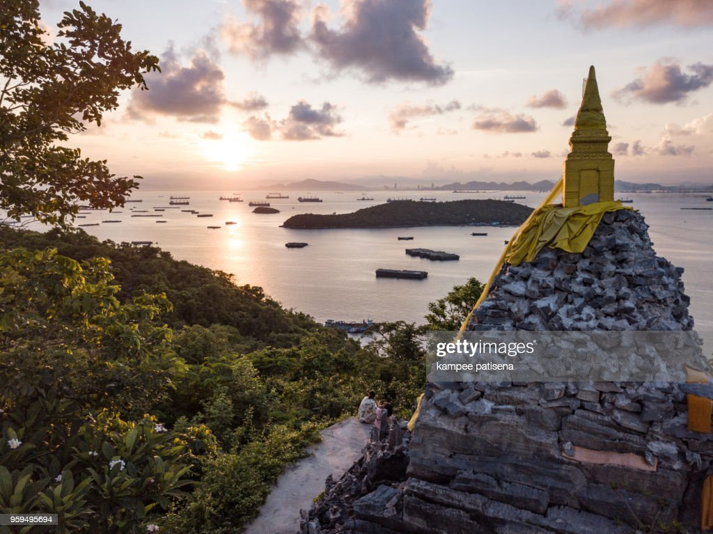 Buddha footprint view point at Sichang island is located in the middle of the Gulf of Thailand. : Stock-Foto