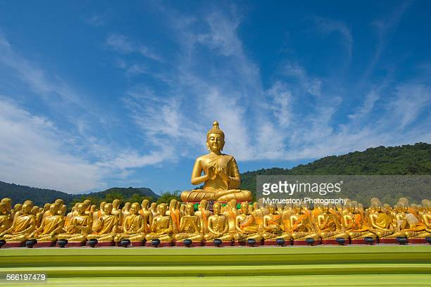 Buddha image with 1250 disciples statue