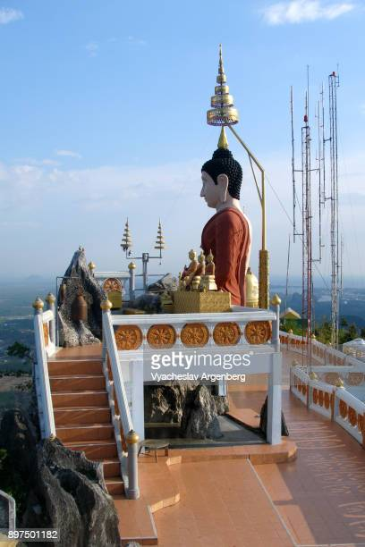 buddha of tiger cave hilltop temple, krabi - argenberg stock pictures, royalty-free photos & images
