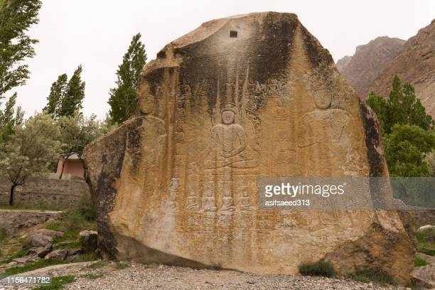 buddha rock carvings - skardu stock pictures, royalty-free photos & images