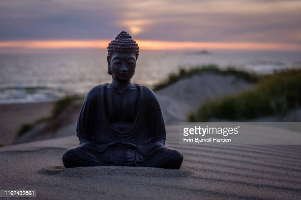 buddha sitting i the sand. dunes and ocean in the background. sunset with beautiful colors over the ocean - finn bjurvoll ストックフォトと画像