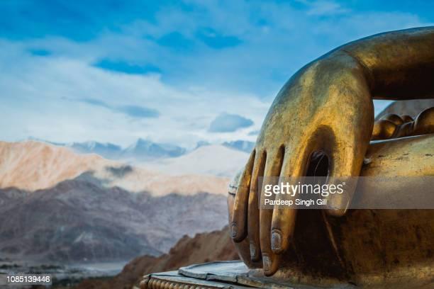 A Buddha statue in Ladakh in Jammu and Kashmir, India.