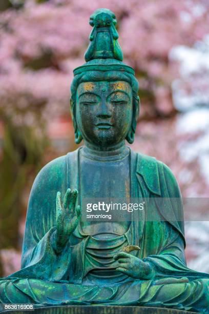 buddha statue in temple of the goddess of mercy, asakusa kannon - buddhist goddess imagens e fotografias de stock
