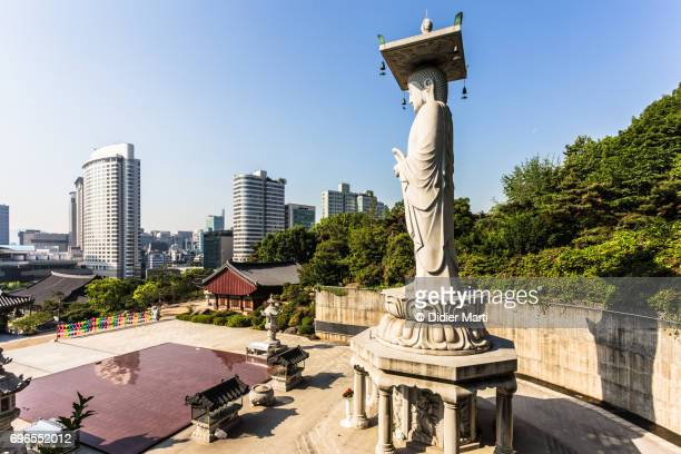 buddha statue in the bongeunsa temple in seoul, south korea - longhua temple stock photos and pictures