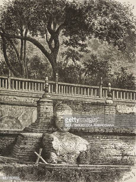 Buddha statue in the walls of the Bodhi tree Bodh Gaya Bihar state drawing by A de Bar from Travels in the southern provinces of India 18621864 by...