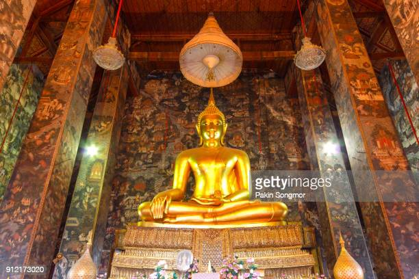 buddha statue in wat suthat thep wararam. - synagogue stock pictures, royalty-free photos & images