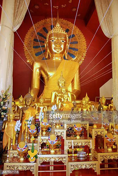 buddha statue inside wat phan tao temple - wat stock pictures, royalty-free photos & images