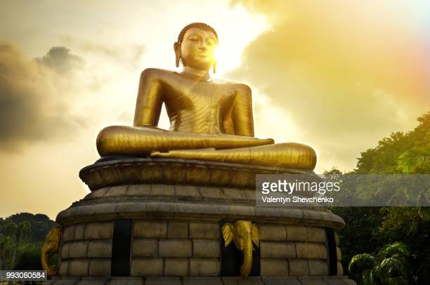 Buddha statue over scenic sunset sky in Colombo