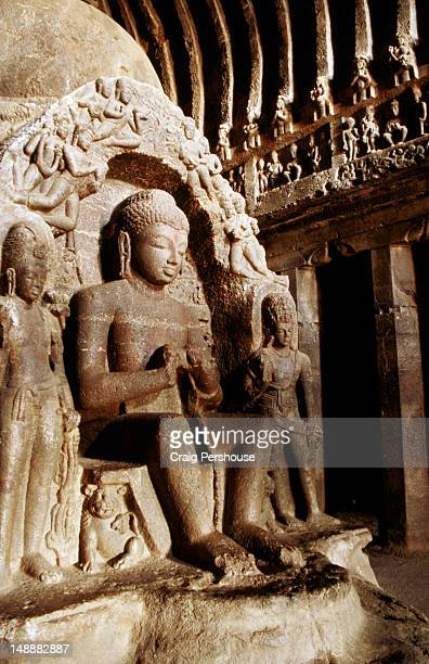 Buddha statues and frieze in Cave 10 at Viswakarma or Carpenter's Cave.