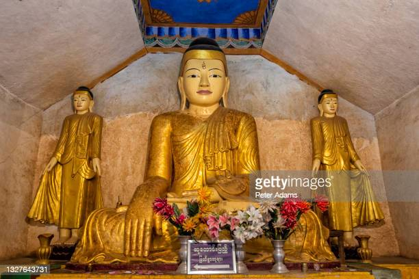 buddha statues in thanboddhay paya - pagoda complex at monywa, myanmar - peter adams stock pictures, royalty-free photos & images