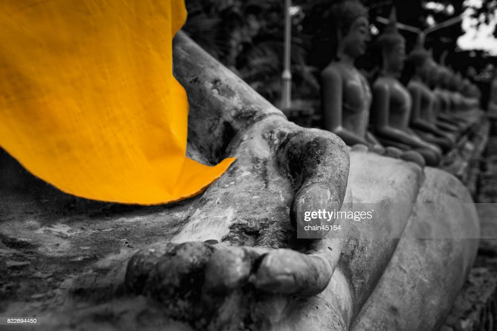 Buddha Temple and monk in Ayuthaya Historical Park, a UNESCO world heritage site in Thailand. : Stock Photo