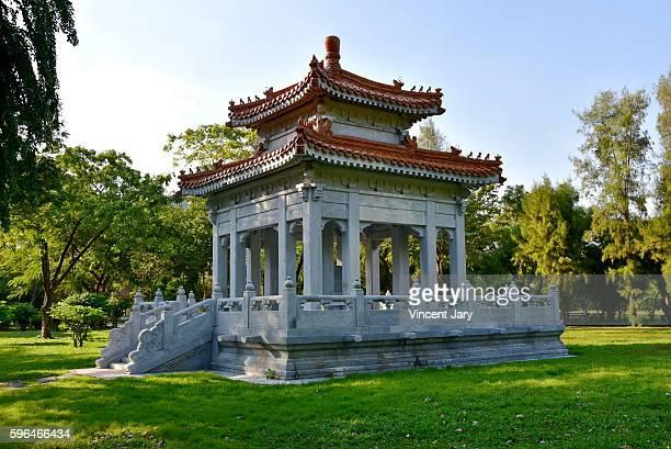 buddha temple Lumpini central park in Bangkok, Thailand, Asia