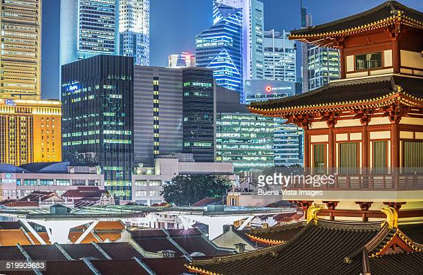 Buddha Tooth Relic Temple and Financial district.