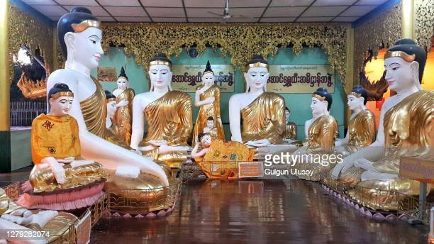 buddhas in shwedagon pagoda, yangon - ceremony stock pictures, royalty-free photos & images