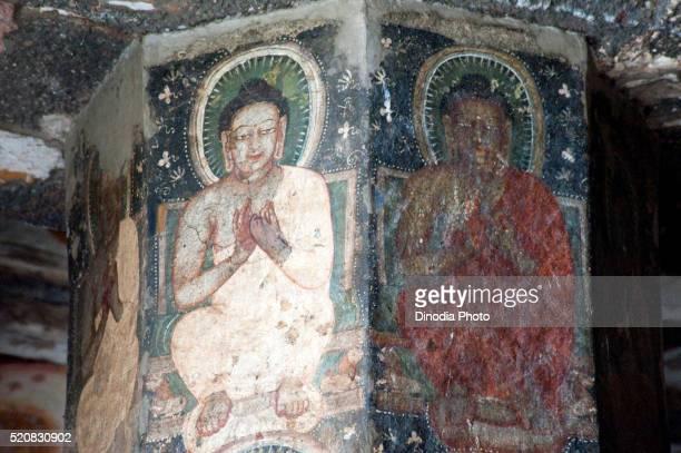 Buddhas paintings on the pillar of ajanta caves, Aurangabad, Maharashtra, India