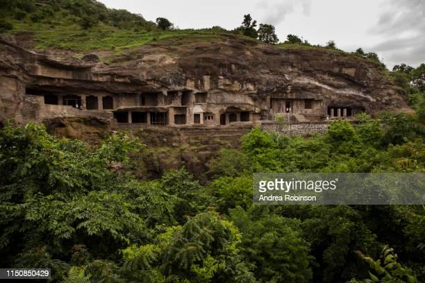 buddhist caves at ellora caves, maharashtra, india - ellora stock pictures, royalty-free photos & images