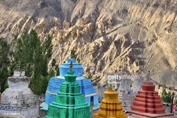Buddhist chortens in the remote Lamayuru village in Lamayuru, Ladakh, Jammu and Kashmir, India.