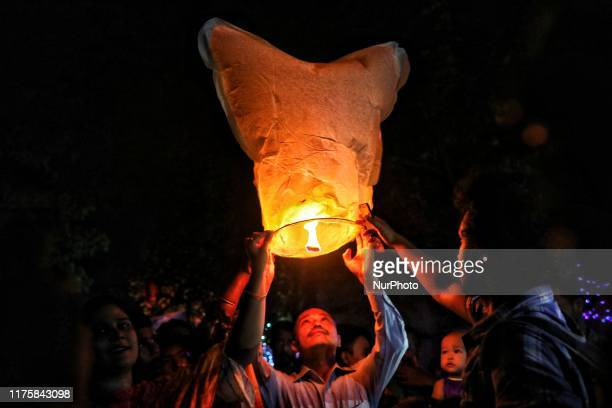 Buddhist Devotees fly Fanush to honor the Lord Buddha on the eve of Pavarana Purnima which marks the end of the Buddhist rains retreat Cox's Bazar...
