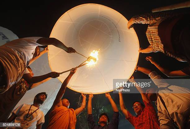Buddhist Devotees fly Fanush to honor the Lord Buddha on the eve of Pavarana Purnima which marks the end of the Buddhist rains retreat Dhaka...
