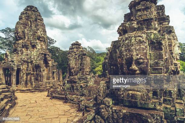 Buddhist faces on towers at Bayon Temple,Cambodia.