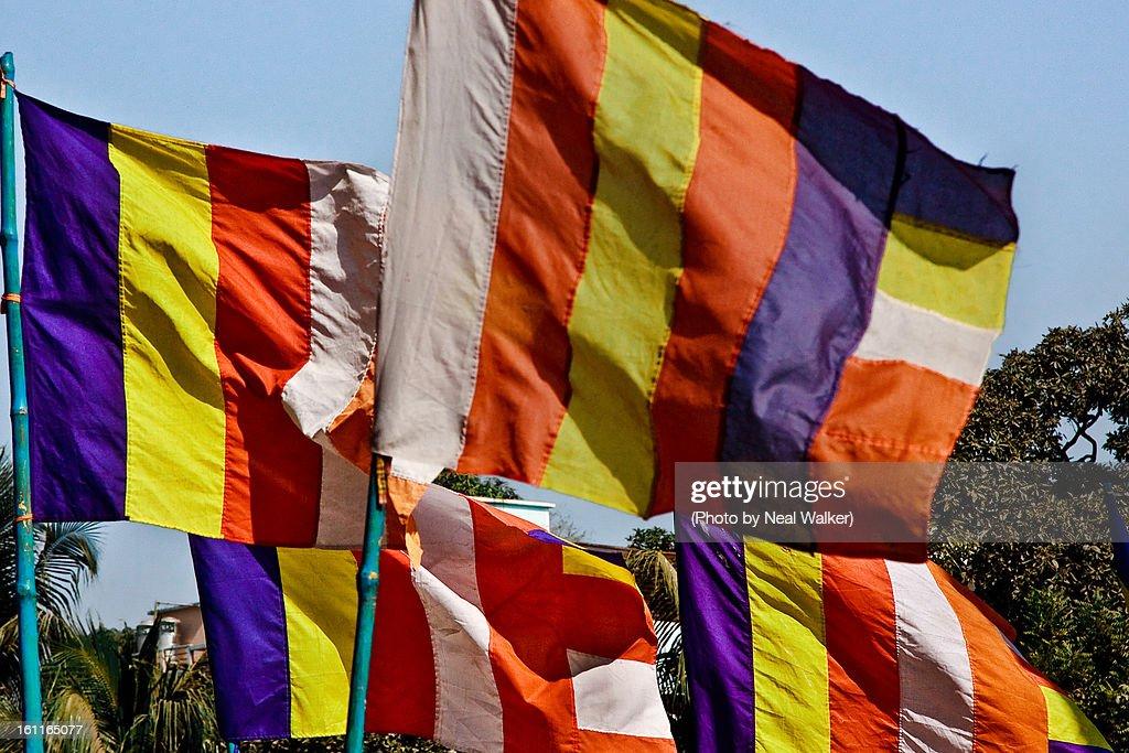 Buddhist flag : Stock Photo