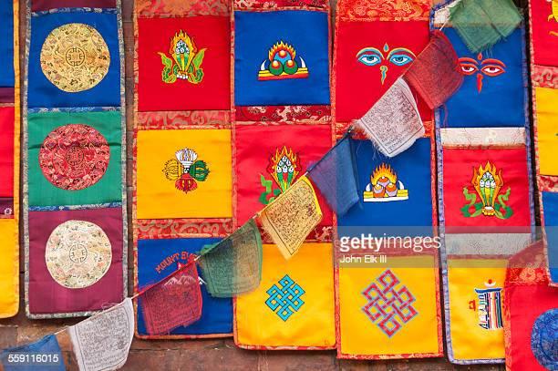 buddhist flags and decorations - バクタプル ストックフォトと画像