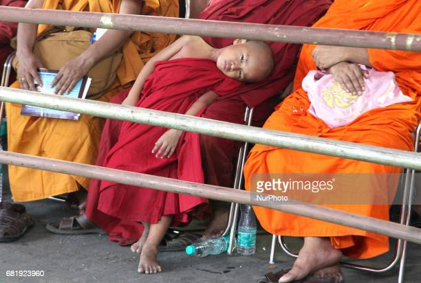 Buddhist Lama children at 2561 BUDDHA JAYANTI Festival at Kolkata on May 11India