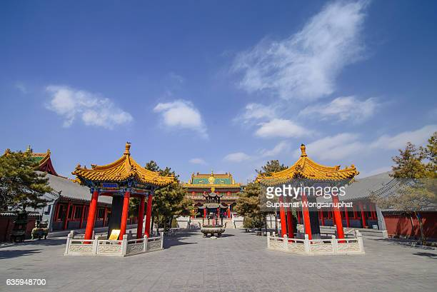 A Buddhist monastery. Da zhou temple in Hohhot, Inner Mongolia, China. The oldest building and the largest temple in city of Hohhot, Inner Mongolia. Its one of the major tourist attraction in Hohhot.