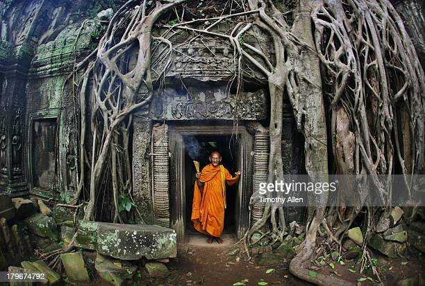 Buddhist monk at Angkor Wat temple complex