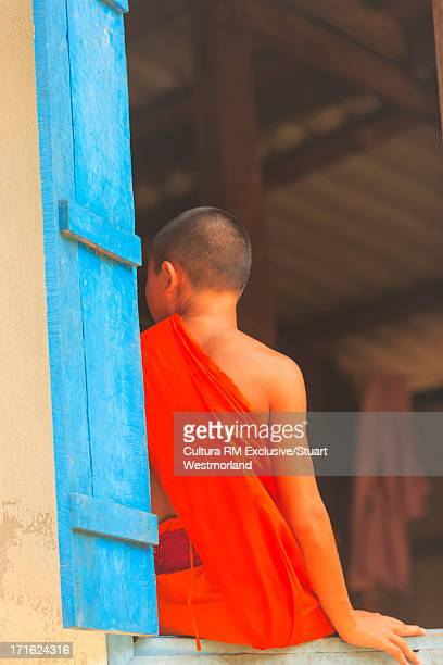 buddhist monk, ban lad han, laos - laotian culture stock pictures, royalty-free photos & images
