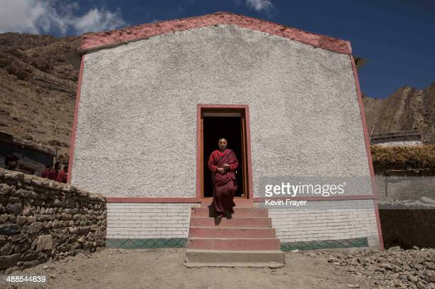 Buddhist monk from the Drukpa lineage leaves a polling station after voting near the Hemis Monastery on May 7 2014 in Hemis Ladakh India India is in...