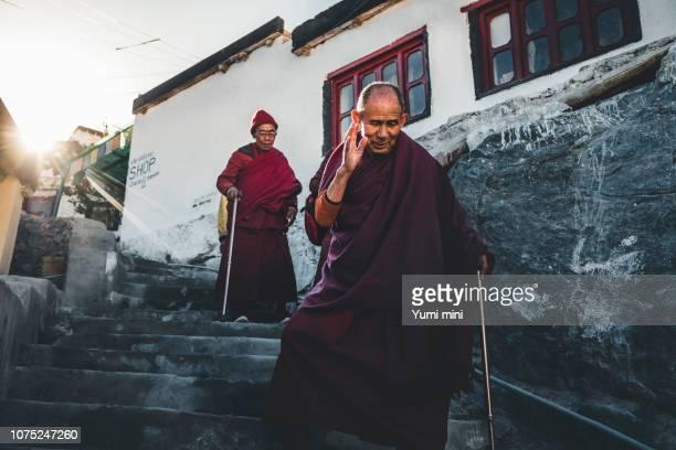 Buddhist Monk in monastery in Ladakh, India.