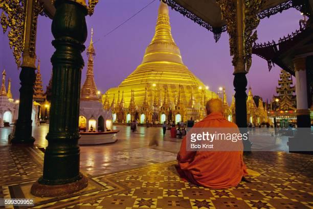 Buddhist Monk Meditating in Myanmar