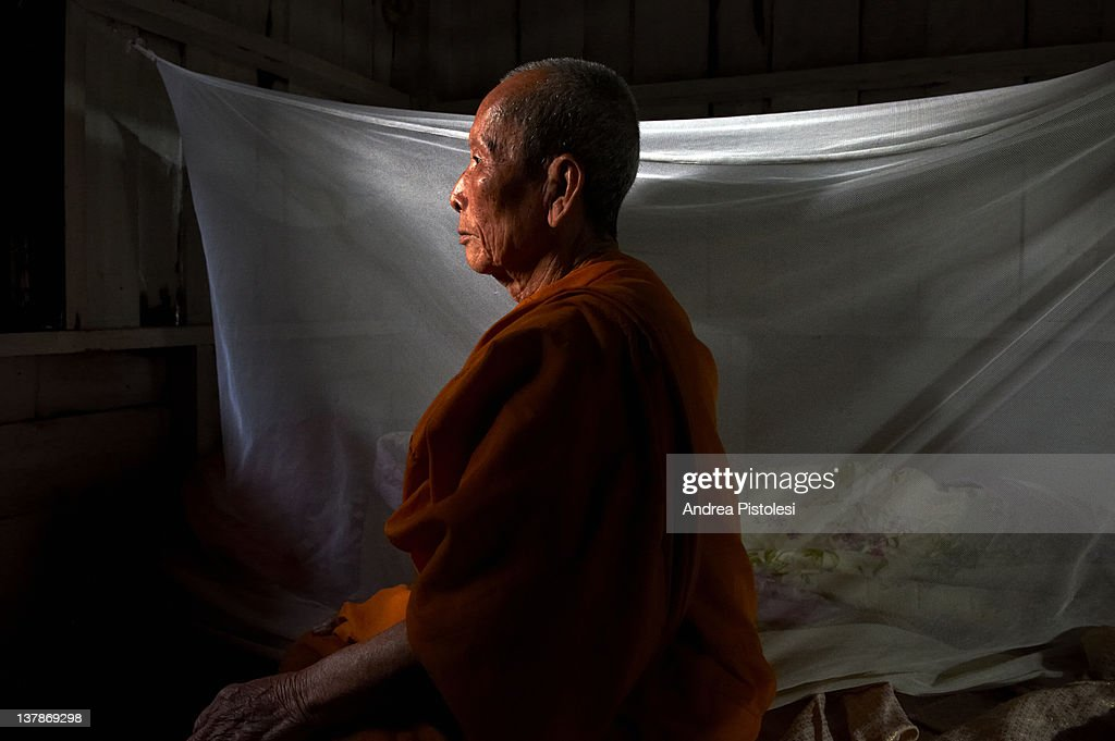 Buddhist Monk Meditation Stock Photo