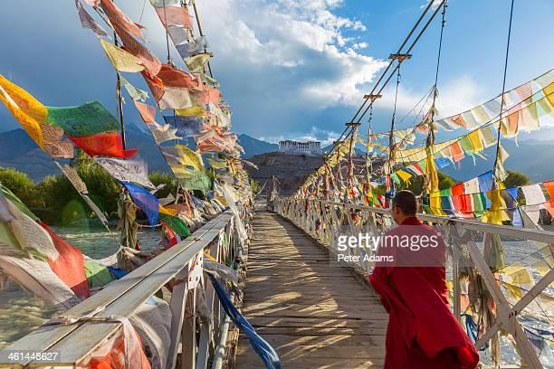 Buddhist Monk on Bridge, Stakna Monastery, Ladakh