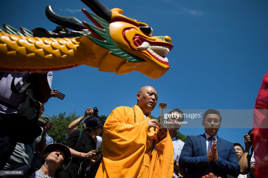 Buddhist Monks Participate In The Blessing Of the Dragon Boats Ahead Of The Hong Kong Dragon Boat Festival In Central Park