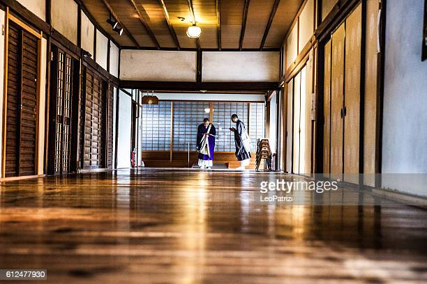 Buddhist monk walking to the Temple for the pray