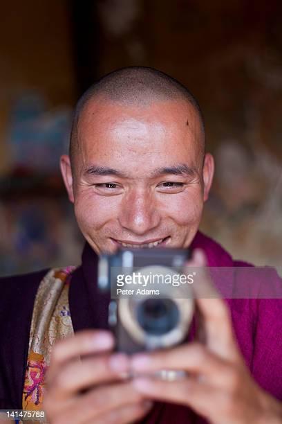 Buddhist Monk with Camera, Bhutan