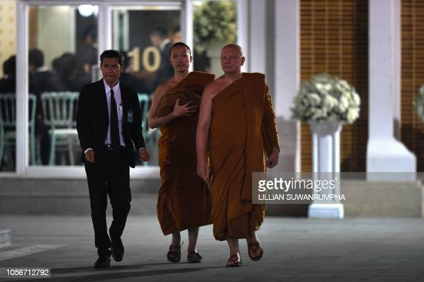 Buddhist monks arrive at the the Wat Thepsirin temple in Bangkok for the funeral ceremony of Leicester City's Thai owner and dutyfree mogul Vichai...
