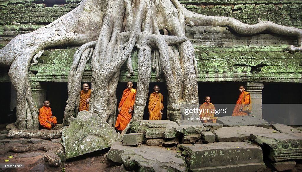 Buddhist Monks At Angkor Wat Temple Complex Stock Photo
