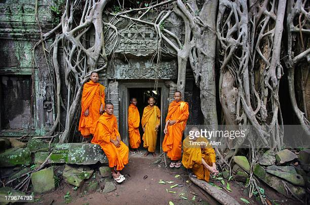 Buddhist monks at Angkor Wat temple complex