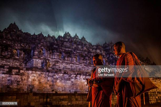 Buddhist monks attend at the Borobudur temple during celebrations for Vesak Day on May 22 2016 in Magelang Central Java Indonesia Vesak is observed...